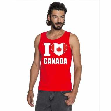Rood i love canada fan singlet shirt/ tanktop heren