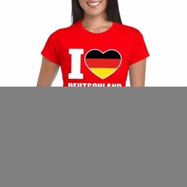 Rood i love duitsland fan shirt dames