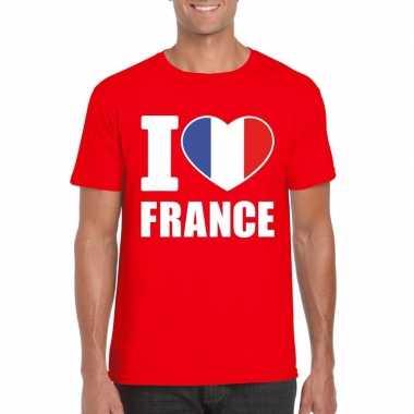Rood i love frankrijk fan shirt heren
