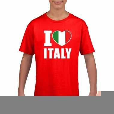 Rood i love italie fan shirt kinderen