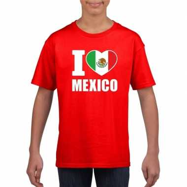 Rood i love mexico fan shirt kinderen