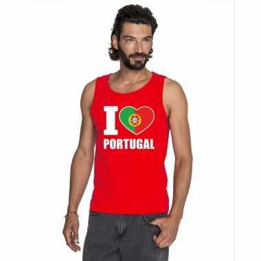 Rood i love portugal fan singlet shirt/ tanktop heren
