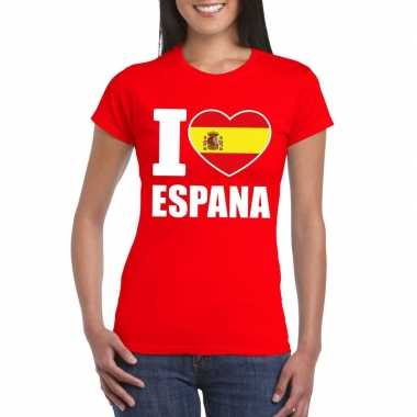 Rood i love spanje fan shirt dames