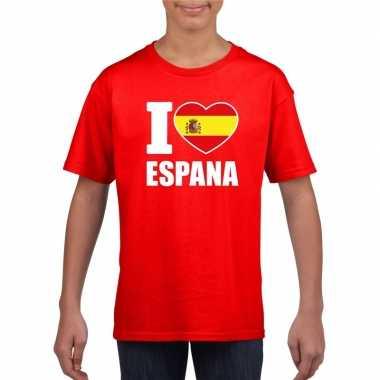 Rood i love spanje fan shirt kinderen