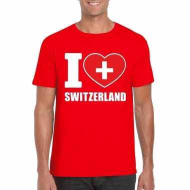 Rood i love zwitserland fan shirt heren