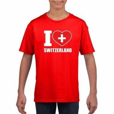 Rood i love zwitserland fan shirt kinderen
