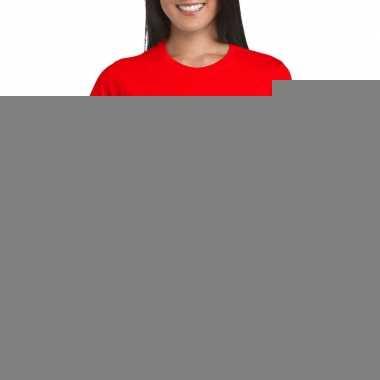 Rood ijsland supporter t-shirt voor dames