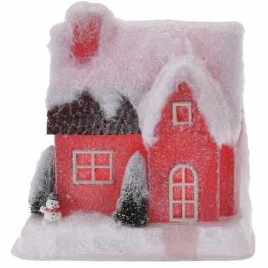Rood kerstdorp huisje 25 cm type 2 met led verlichting