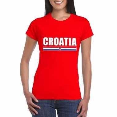 Rood kroatie supporter t-shirt voor dames