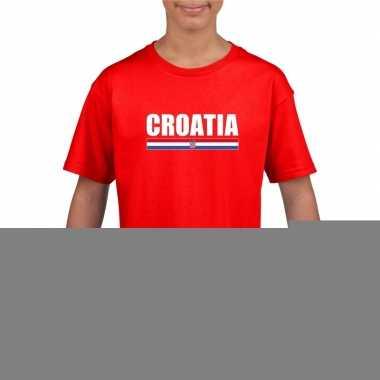 Rood kroatie supporter t-shirt voor kinderen