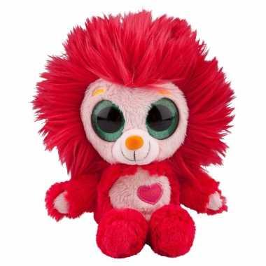 Rood leeuwen knuffeltje met muziek 20 cm