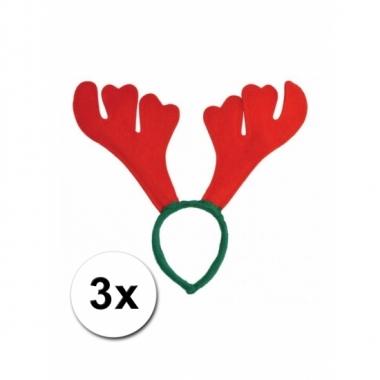 Rood met groene rudolf kerst diadeem 3st