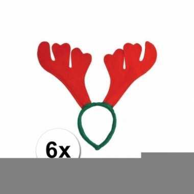 Rood met groene rudolf kerst diadeem 6st