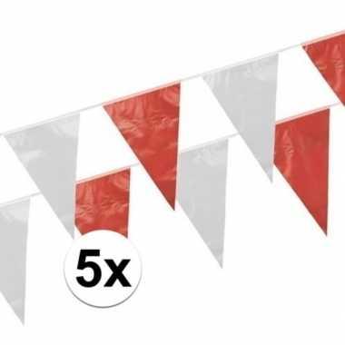 Rood witte puntvlaggetjes 10 meter