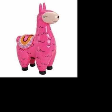 Roze alpaca/lama spaarpot 21 cm