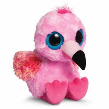 Roze flamingo knuffel 20 cm met grote ogen