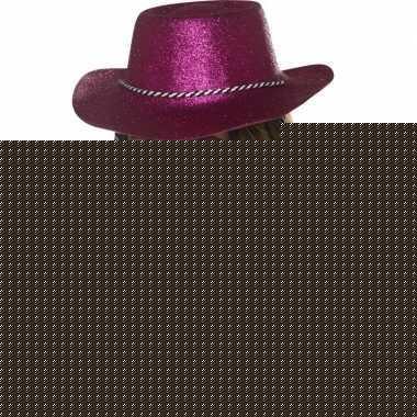 Roze glitter cowboyhoed voor dames
