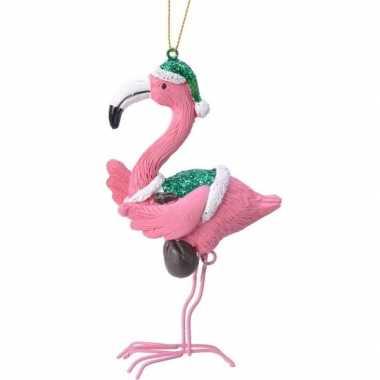 Roze/groene flamingo kerstversiering hangdecoratie 13 cm