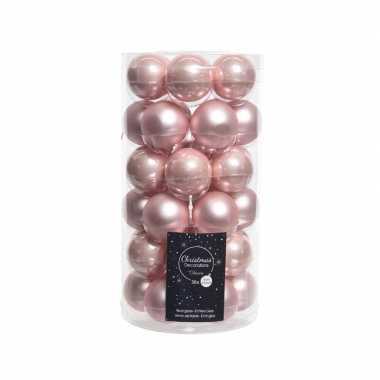 Roze kerstversiering kerstballenset glas 4 cm