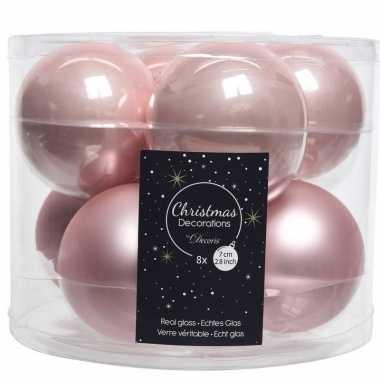 Roze kerstversiering kerstballenset glas 7 cm