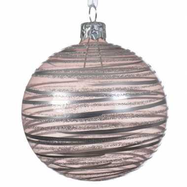 Roze kerstversiering transparante kerstballen van glas 8 cm