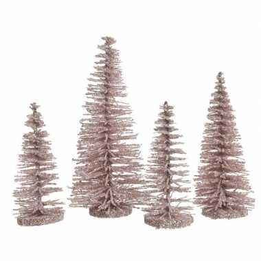Roze kleine kunst kerstboom glitter 15 cm 4 stuks