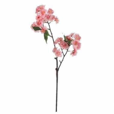 Roze prunus serrulata/kersenbloesem kunsttak kunstplant 60 cm