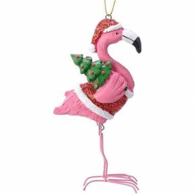 Roze/rode flamingo kerstversiering hangdecoratie 13 cm