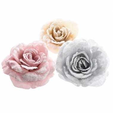 Roze roos kerstversiering clip decoratie 12 cm