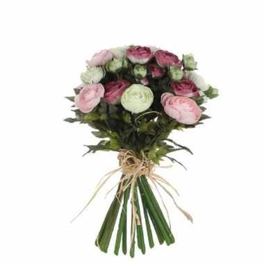 Roze/wit ranunculus/ranonkel kunstbloemen boeket 35 cm