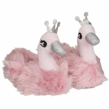 Roze zwaan dieren pantoffels/sloffen voor meisjes