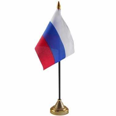 Rusland tafelvlaggetje 10 x 15 cm met standaard trend