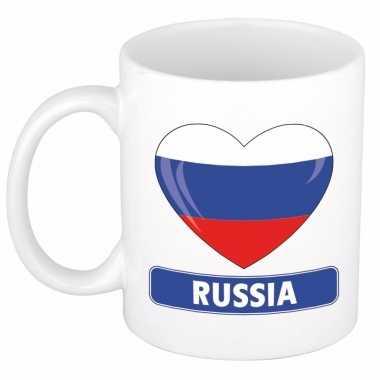 Russische vlag hartje theebeker 300 ml trend