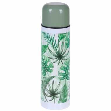 Rvs thermoskan/isoleerkan 500 ml met planten print type 1