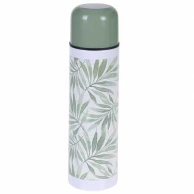 Rvs thermoskan/isoleerkan 500 ml met planten print type 3