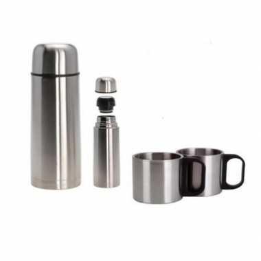 Rvs thermoskan/isoleerkan met twee bekers 1 liter