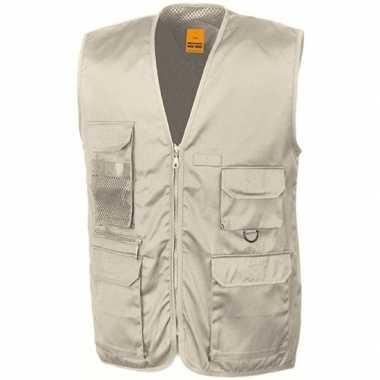Safari/jungle verkleed bodywarmer/vest beige voor volwassenen