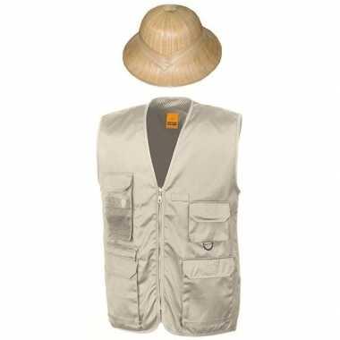 Safari/jungle verkleedset vest en hoed beige voor volwassenen