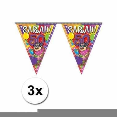 Sarah 10 meter lange vlaggenlijnen 3 stuks