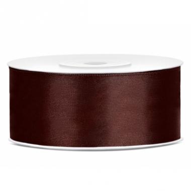 Satijn sierlint bruin 25 mm