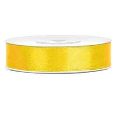 Satijn sierlint geel 12 mm
