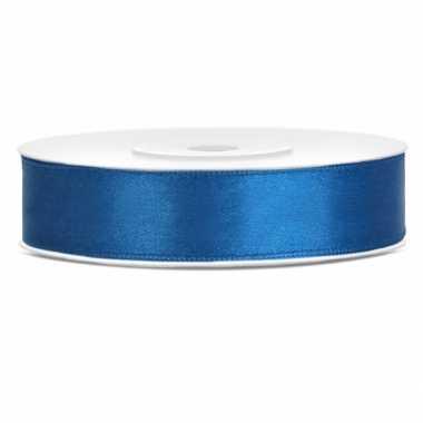 Satijn sierlint kobalt blauw 12 mm
