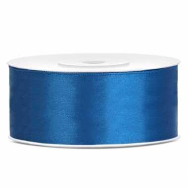 Satijn sierlint kobalt blauw 25 mm