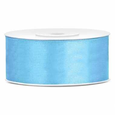Satijn sierlint lichtblauw 25 mm