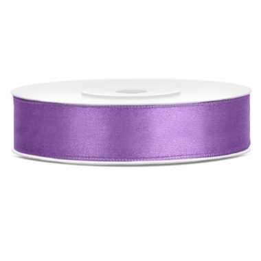 Satijn sierlint lila paars 12 mm