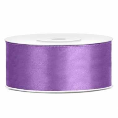 Satijn sierlint lila paars 25 mm