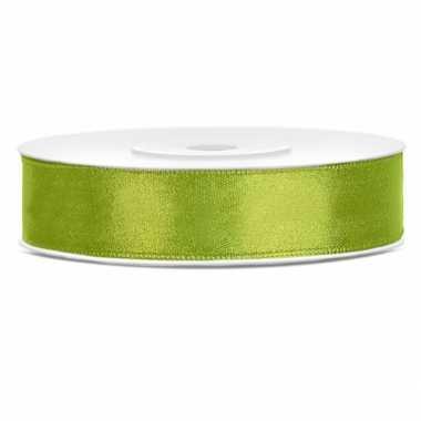 Satijn sierlint lime groen 12 mm