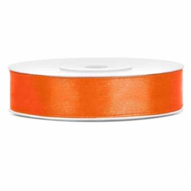 Satijn sierlint oranje 12 mm