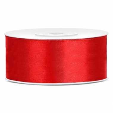 Satijn sierlint rood 25 mm