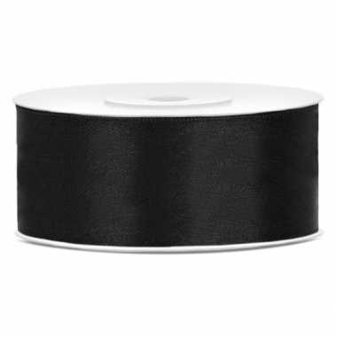 Satijn sierlint zwart 25 mm